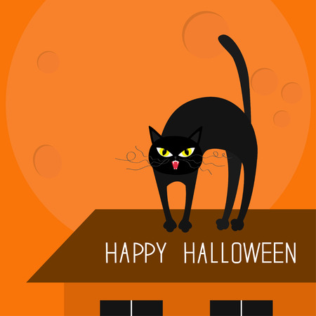 black head and moustache: Cat arch back. Kitty on roof. Yellow eyes, fangs, curl whisker. Happy Halloween card. Moon, house, windows. Funny cartoon character. Isolated Orange background Flat design. Vector illustration