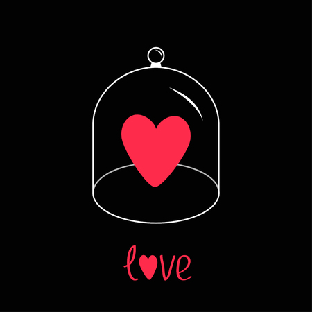 love dome: Pink heart. Glass bell cover cap. Half sphere lid dome with handle. Love greeting card. Black background. Vector illustration.