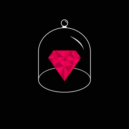 pink cap: Pink polygonal diamond. Glass bell cover cap. Half sphere lid dome with handle. Black background. Vector illustration.