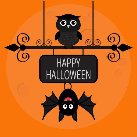 Happy Halloween card. Bat hanging on wrought iron sign board. Owl bird. Cute cartoon character set. Baby illustration collection. Flat design. Orange background Big moon. Vector illustration