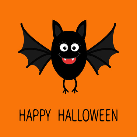 Happy Halloween card. Cute cartoon bat flying. Animal character. Baby illustration collection. Flat design. Orange background. Vector illustration Illustration