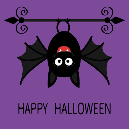 bat animal: Happy Halloween card. Cute cartoon hanging bat. Animal character. Baby illustration collection. Flat design. Violet background. Vector illustration Illustration