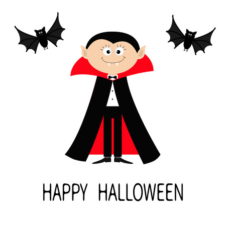 Count Dracula wearing black and red cape. Cute cartoon vampire character with fangs. Two flying bat animal. Happy Halloween. Flat design. White background. Isolated. Vector illustration