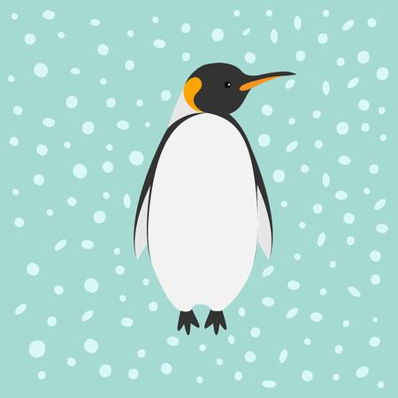 emperor: King Penguin Emperor Aptenodytes Patagonicus Snow in the sky Flat design Winter antarctica background Vector illustration