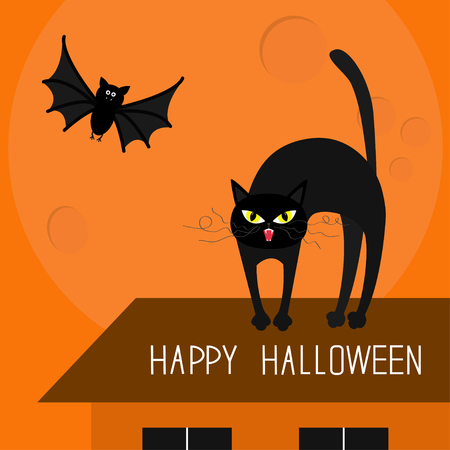 whisker: Cat arch back. Kitty on roof. Yellow eyes, fangs, curl whisker. Flying bat. Happy Halloween card. Moon, house, windows. Funny cartoon character Isolated Orange background. Flat design Vector