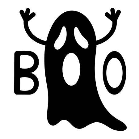Happy Halloween. Funny black flying ghost with hands. Boo text. Greeting card. Cute cartoon character. Scary spirit. Baby collection. White background. Flat design. Vector illustration