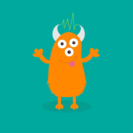 Orange monster with eyes, horns, tongue, electricity line. Funny Cute cartoon character. Baby collection. Happy Halloween card. Flat design. Green background. Vector illustration