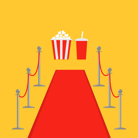Red carpet and rope barrier golden stanchions turnstile Popcorn box soda. Isolated template Yellow background. Flat design Vector illustration