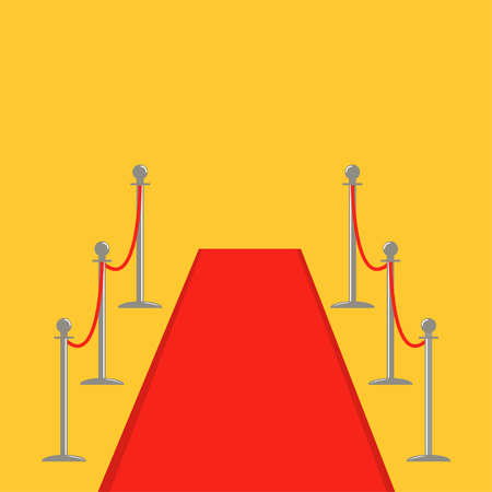 velvet rope barrier: Red carpet and rope barrier golden stanchions turnstile Isolated template Yellow background. Flat design Vector illustration