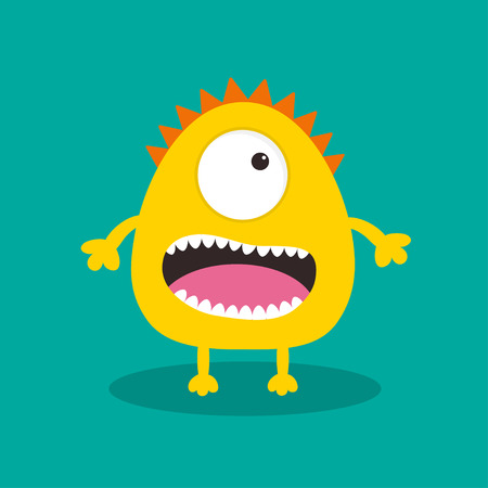 Yellow monster with one eye, teeth, tongue. Funny Cute cartoon character. Baby collection. Happy Halloween card. Flat design. Green background. Vector illustration