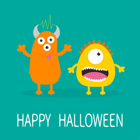 Happy Halloween greeting card. Yellow and orange monster with one eye, teeth, tongue. Funny Cute cartoon character. Baby collection. Flat design. Green background. Vector illustration