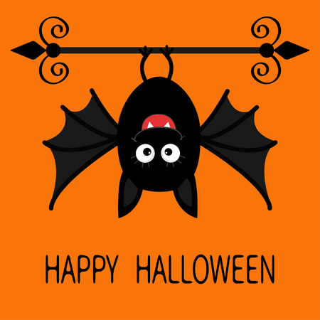 bat animal: Happy Halloween card. Cute cartoon hanging bat. Animal character. Baby illustration collection. Wrought iron. Flat design. Orange background. Vector illustration