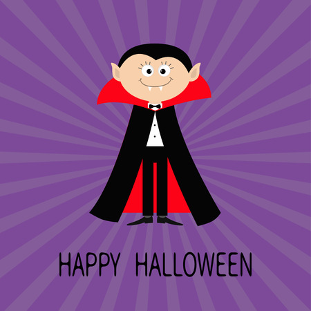 fangs: Count Dracula wearing black and red cape. Cute cartoon vampire character with fangs. Happy Halloween. Flat design. Violet starburst, sunburst background. Vector illustration
