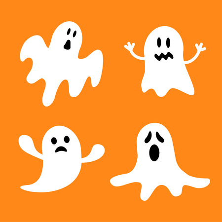 haunt: Funny flying ghost set.Different emotions face. Happy Halloween. Greeting card. Cute cartoon character. Scary spirit. Baby collection. Orange background. Flat design. Vector illustration