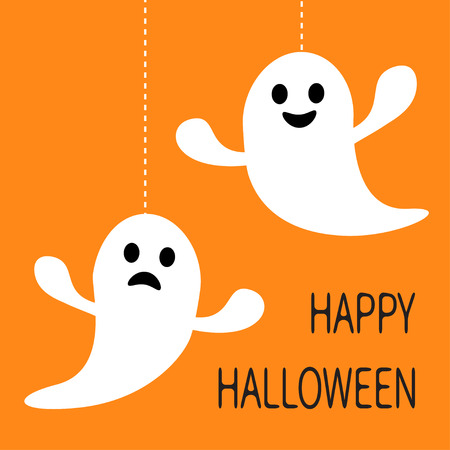 haunt: Hanging ghost Dash line Smiling and sad face. Happy Halloween. Greeting card. Cute cartoon character. Scary spirit. Baby collection. Orange background. Flat design. Vector illustration Illustration