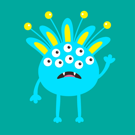 fang: Blue monster with ears, fang tooth and horns. Funny Cute cartoon character. Baby collection. Happy Halloween card. Flat design. Green background. Vector illustration
