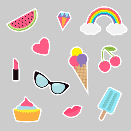 Quirky cartoon sticker patch set. Summer time badges. Fashion pin collection. Lipstick, heart, rainbow, cloud, cupcake, diamond ice cream, watermelon, lips cherry sunglasses Isolated Flat Vector