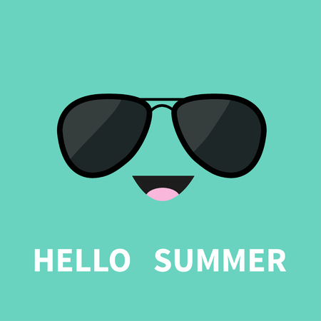 Face with black pilot sunglassess. Happy emotion. Cute cartoon funny smiling character. Hello summer. Green background. Isolated. Flat design Vector illustration