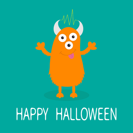Happy Halloween card. Orange monster with eyes, horns, tongue, electricity line. Funny Cute cartoon character. Baby collection. Flat design. Green background. Vector illustration