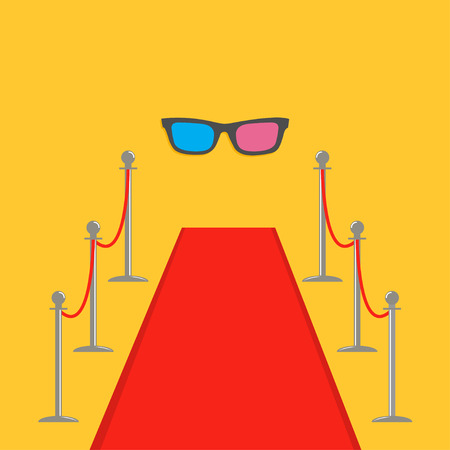 velvet rope barrier: Red carpet and rope barrier golden stanchions turnstile 3D glasses. Isolated template Yellow background. Flat design Vector illustration