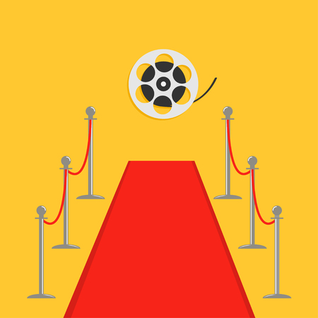 Red carpet and rope barrier golden stanchions turnstile Movie Cinema reel. Isolated template Yellow background. Flat design Vector illustration Illustration