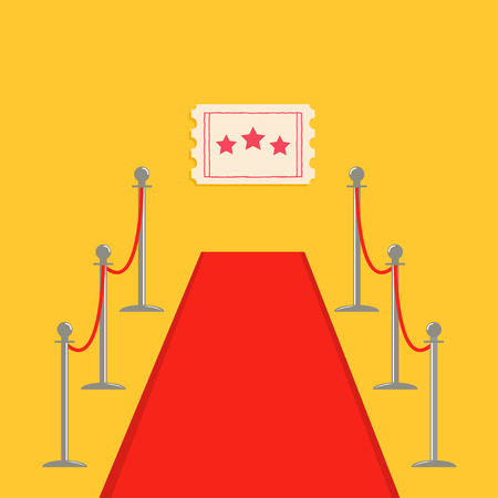 Red carpet and rope barrier golden stanchions turnstile Movie ticket with stars. Isolated template Yellow background. Flat design Vector illustration