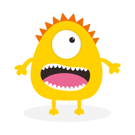 one eye: Yellow monster with one eye, teeth, tongue. Funny Cute cartoon character. Baby collection. Isolated. Happy Halloween card. Flat design. White background. Vector illustration