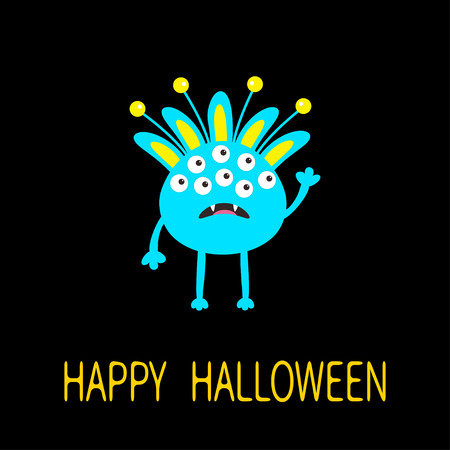fang: Happy Halloween greeting card. Blue monster with ears, fang tooth. Funny Cute cartoon character. Baby collection. Flat design. Black background. Vector illustration