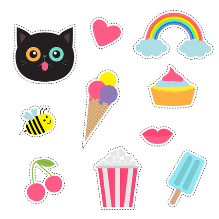 Quirky cartoon sticker patch badges set. Fashion pin collection. Cat, heart, rainbow cloud, cupcake, bee, ice cream, popcorn, lips cherry Dash line contour Isolated Baby background. Flat design Vector