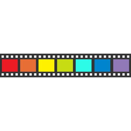 Rainbow flag Film strip frame. Straight shape ribbon. Design element. White background. LGBT Gay movie cinema sign symbol. Isolated. Flat. Vector illustration 일러스트