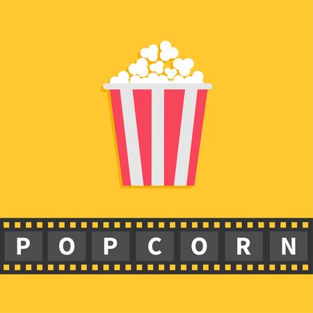 Popcorn. Filmstreifen Bandleitung Mit Text. Red White-Box-Behälter ...