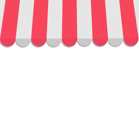 vitrine: Striped store awning for shop, marketplace, cafe and restaurant. Red canopy roof. Flat design. White background. Isolated. Vector illustration