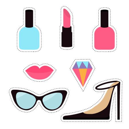 Quirky cartoon sticker patch badge set. Woman Fashion pin. Lipstick, diamond gem, shoes, lips, sunglasses, eye glasses, nail polish. Dash line contour. Isolated White background. Flat design Vector