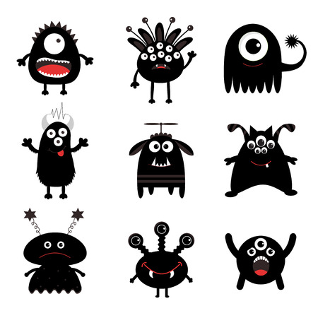 ugliness: Black monster big set. Cute cartoon scary silhouette character. Baby collection. White background. Isolated. Happy Halloween card. Flat design. Vector illustration.