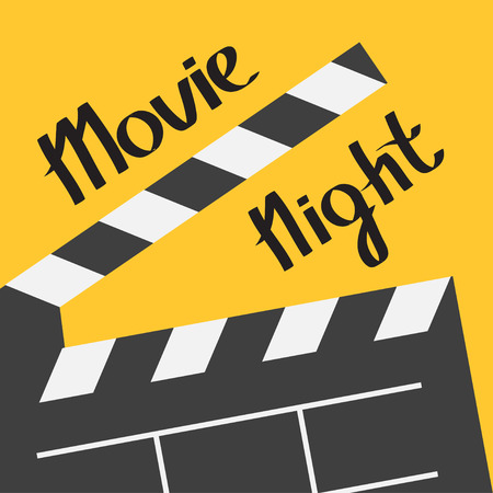 Big open clapper board. Movie night text. Lettering. Flat design style. Yellow background. Vector illustration