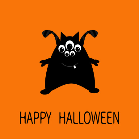 Happy Halloween greeting card. Black silhouette monster with ears, tooth, eyes. Funny Cute cartoon character. Baby collection. Flat design. Orange background. Vector illustration