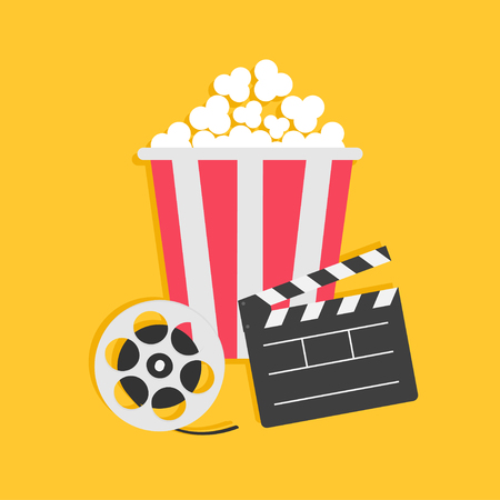 Movie reel Open clapper board Popcorn Cinema icon set. Flat design style. Yellow background. Vector illustration