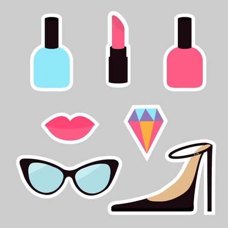 quirky: Quirky cartoon sticker patch badge set. Woman Fashion pin. Lipstick, diamond gem, shoes, lips, sunglasses, eye glasses, nail polish. White line contour. Isolated Gray background. Flat design Vector Illustration