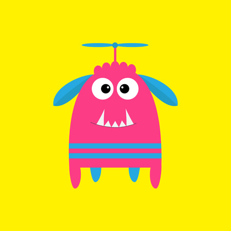 fang: Funny monster with fang tooth and horns. Cute cartoon character. Pink color. Baby collection. Isolated. Happy Halloween card. Yellow background. Flat design. Vector illustration. Illustration