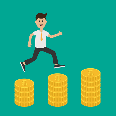 Running businessman charcter. Gold coin stacks icon in shape of diagram. Dollar sign symbol. Cash money. Going up graph. Income and profits. Growing business concept. Flat Green background. Vector Illustration