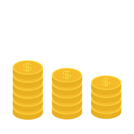 one us dollar coin: Gold coin stacks icon in shape of diagram. Dollar sign symbol. Cash money. Going down graph. Income and profits. Growing business concept. Flat design. White background. Isolated. Vector illustration