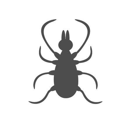 encephalitis: Tick insect silhouette. Mite deer ticks big icon. Dangerous black parasite. White background. Isolated. Flat design. Vector illustration
