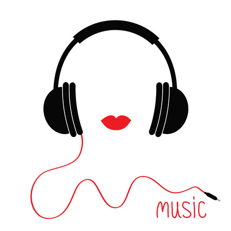 Headphones with cord. Red lips Music card. Flat design icon White background Isolated Vector illustration