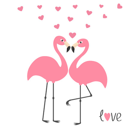 Pink flamingo couple and hearts. Word love. Exotic tropical bird. Zoo animal collection. Cute cartoon character. Greeting card. Flat design. White background Isolated Vector illustration
