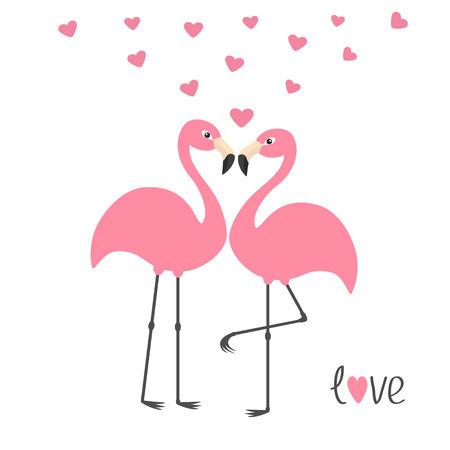Roze flamingo paar en harten. De liefde van Word. Exotische tropische vogel. Zoo dier collectie. Schattig stripfiguur. Wenskaart. Plat ontwerp. Witte achtergrond Geïsoleerde Vector illustratie