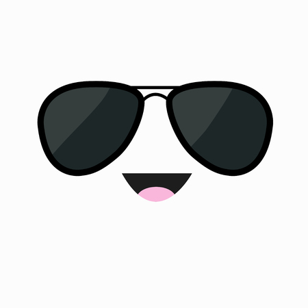 Face with black pilot sunglassess. Happy emotion. Cute cartoon funny smiling character. White background. Isolated. Flat design. Vector illustration
