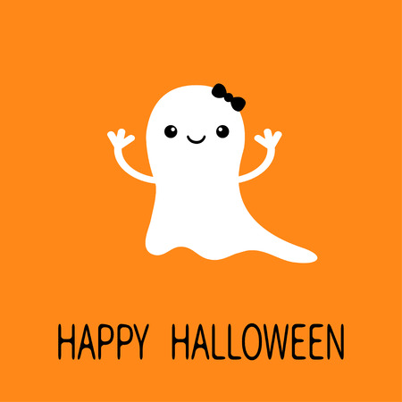 Funny baby girl ghost with black bow. Smiling face. Happy Halloween. Greeting card. Cute cartoon character. Scary spirit. Kids collection. Orange background. Flat design. Vector illustration