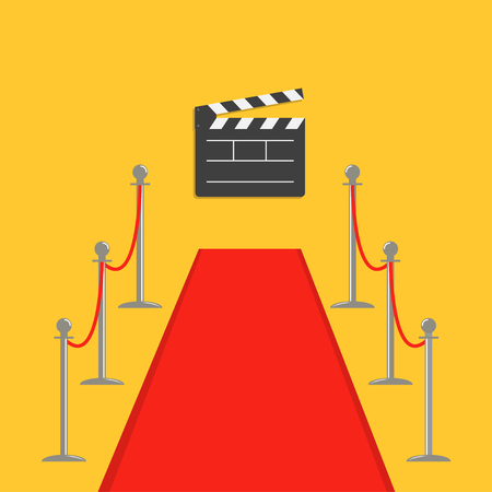rope barrier: Red carpet and rope barrier golden stanchions turnstile Clapper movie cinema board. Isolated template Yellow background. Flat design Vector illustration