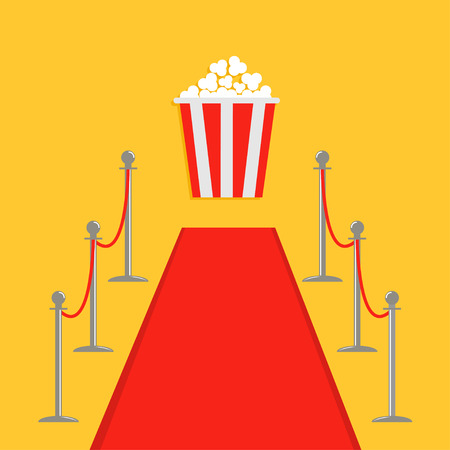 velvet rope barrier: Red carpet and rope barrier golden stanchions turnstile Popcorn box. Isolated template Yellow background. Flat design Vector illustration