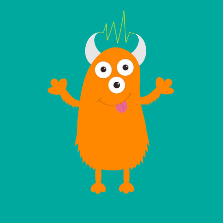 ugliness: Orange monster with eyes, horns, tongue, electricity line. Funny Cute cartoon character. Baby collection. Isolated. Happy Halloween card. Flat design. Green background. Vector illustration Illustration